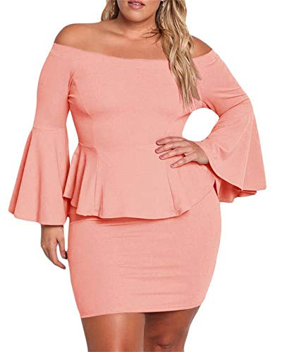 Yskkt Womens Plus Size Peplum Dresses Off The Shoulder Short Sleeve Bell Sleeve Ruched Bodycon Sexy Mini Party Dress Pink ()