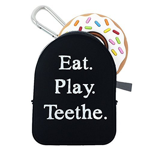 Sill Chews White Donut Teething Toy with Black Tote Bag Teether Holder Pacifier Pod Pocket with Keychain For Moms. Nannies, and (Chew Holder)