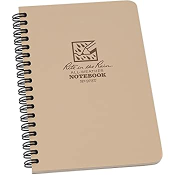 """Rite in the Rain All-Weather Side-Spiral Notebook, 4 5/8"""" x 7"""", Tan Cover, Universal Pattern (No. 973T)"""