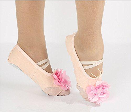 Kvinna Blommor Duk Balett Dansskor Mage Tofflor Lägenhet Med Delad Sula Naken