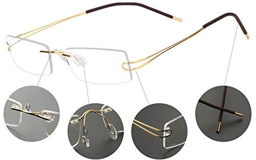 ddf071e84d2 Agstum Pure Titanium Rimless Frame Prescription Hingeless Eyeglasses 52mm ( Gold