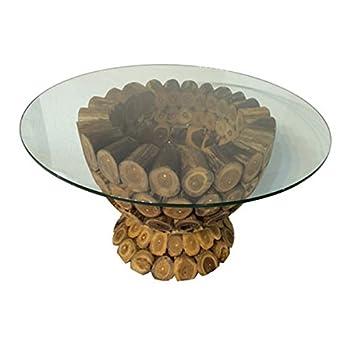 Salveo Teak Holz Wurzel Baum Couchtisch Mit Glas 90 X 50 Cm