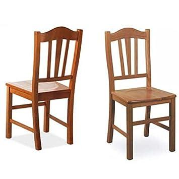 Sedia da pranzo Silvana massello in legno di faggio color ciliegio ...