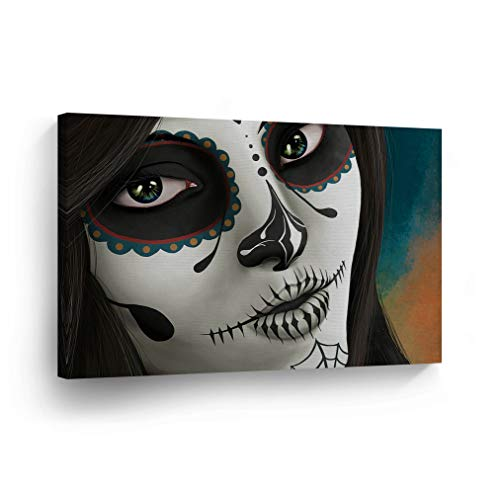 Day of The Dead Beautiful Woman Face Candy Skull Makeup Canvas Print Sugar Skull Decor Wall Art Home Decor Stretched and Ready to Hang -%100 Handmade in The USA - 8x12 ()