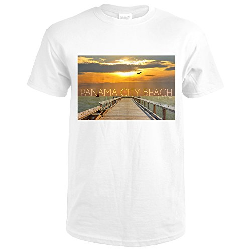 Panama City Beach, Florida - Pier at Sunset (Premium White T-Shirt - Pier Beach Panama City Park