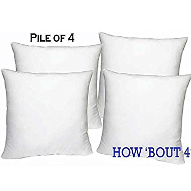 Set of 4 - 18 x 18 Premium Hypoallergenic Stuffer Pillow Insert Sham Square Form Polyester, Standard / White - MADE IN USA