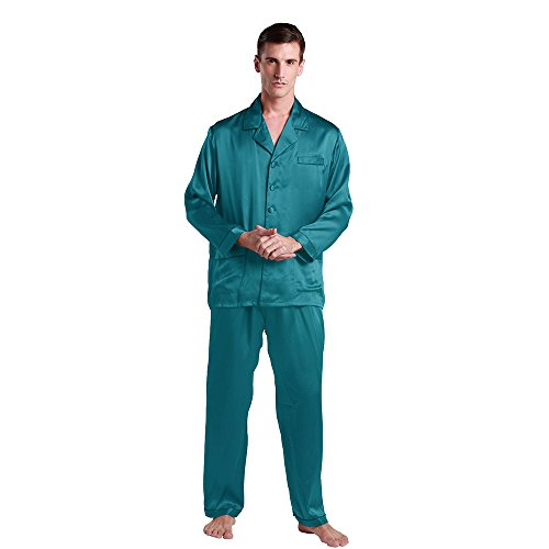 LilySilk Silk Pajamas Set For Men Summer Pure 100 Mulberry 22 Momme Wedding Party Dark Teal XS by LilySilk