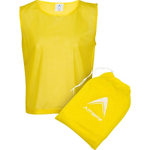 Athllete Set of 12- Scrimmage Vest/Pinnies / Team Practice Jerseys with Free Carry Bag. Sizes for Children, Youth, Adult and Adult XXL (Golden Yellow, Medium)