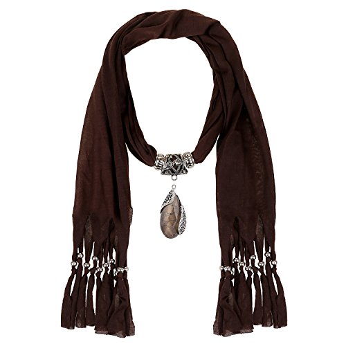 (LERDU Gift Idea Indian Pear Shaped Stone Pendant Brown Scarf Necklace Soft Jersey Infinity Scarf Tassel Jewelry for Women)