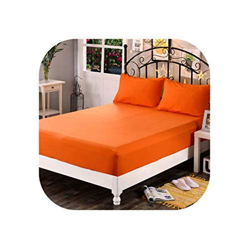 - little-kawaii bedding set 1pcs Soft Solid Fitted Sheet Mattress Cover Four Corners with Elastic Band Bed Sheet,juhuang,150cmX200cmX25cm