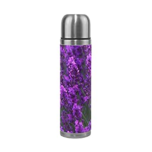 JSTEL Lavender Garden Stainless Steel Water Bottle Vacuum Insulated Leak Proof Double Vacuum Bottle for Hot Coffee or Cold Tea + Drink Cup Top 500ml