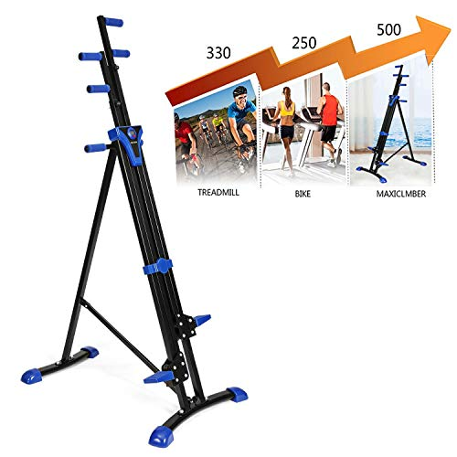 Hurbo Vertical Climber Home Gym Exercise Folding Climbing Machine Exercise Bike for Home Body Trainer Stepper Cardio Workout Training Non-Stick Grips Legs Arms Abs Calf (Black Blue) by Hurbo (Image #3)