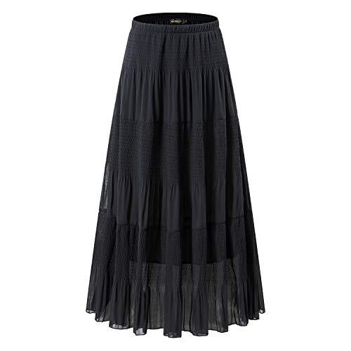 NASHALYLY Long Chiffon Black Plus Size Skirt - Elastic High Waist Pleated A-Line Flared Maxi ()