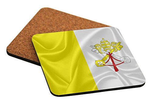 Rikki Knight Holy See Flag Design Square Beer Coasters by Rikki Knight