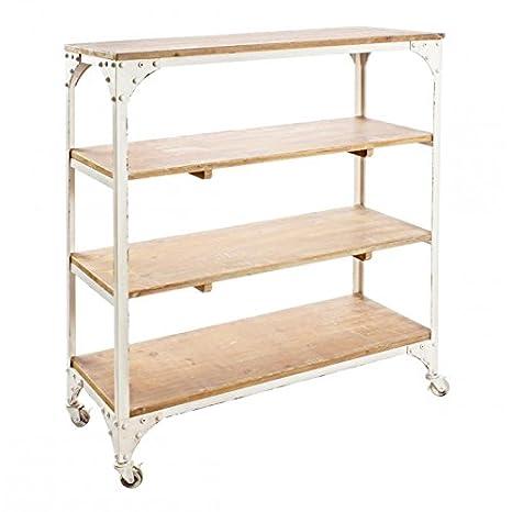 MOAI home & garden Librero de Cuatro estantes con Ruedas Estructura de forja Estilo Industrial