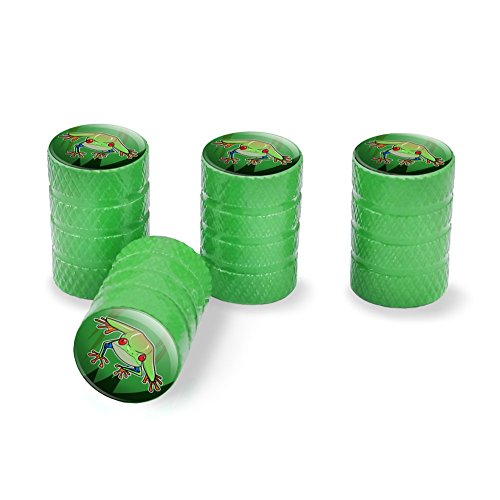 Tree Frog on Leaf Tire Rim Wheel Aluminum Valve Stem Caps - - Leaf Green Rim