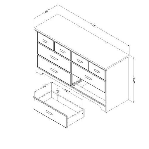 Bedroom South Shore Versa 6-Drawer Double Dresser, Weathered Oak farmhouse dressers