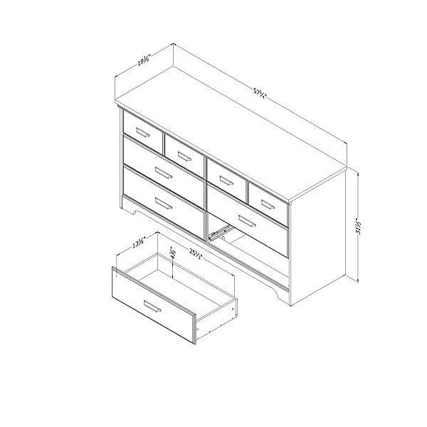 South Shore Versa 6-Drawer Double Dresser, Weathered Oak