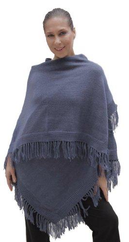 (Knitted Soft Alpaca Wool Ruana Cape Wrap One Size (Steel Blue))