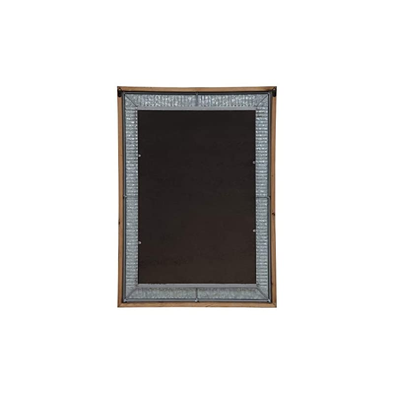 Kate and Laurel Deely Farmhouse Wall Mirror, 20 x 30, Rustic Brown and Silver, Rustic Wall Decor with Galvanized Metal…