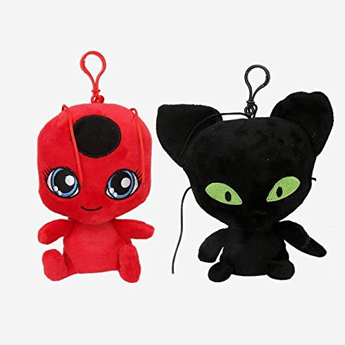 PAPWELL Miraculous Ladybug Toys 6/8 inch Tikki Plagg Cat Noir Large Plush Toy Big Stuffed Keychain Gift Collectable Christmas Halloween Birthday Gifts Cute Collectibles Collectible for Kids (2pc 6