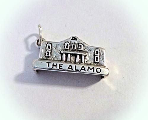 Sterling Silver 3D 20x11x5mm says The Alamo San Antonio Charm Vintage Crafting Pendant Jewelry Making Supplies - DIY for Necklace Bracelet Accessories by CharmingSS