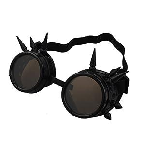 Doinshop Unisex Vintage Steampunk Goggles Glasses Punk Gothic Lenses Eyewear (Black)