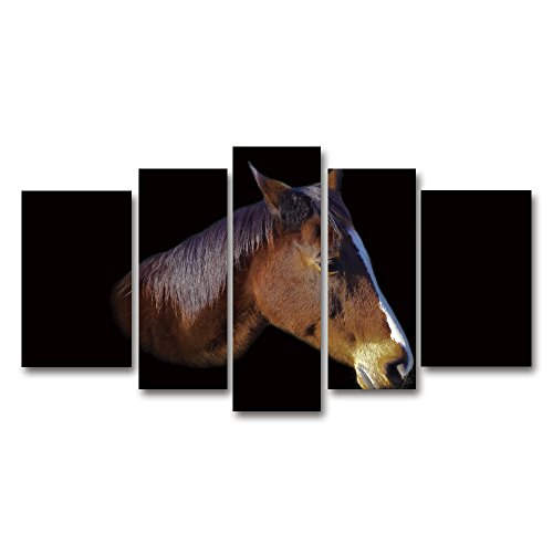 wonbye 5 Panel Canvas Wall Art Painting - the Melancholy Horse - Animal Contemporary Pictures Print for Home Décor Living Room- Stretched By Wood Frame   Large -
