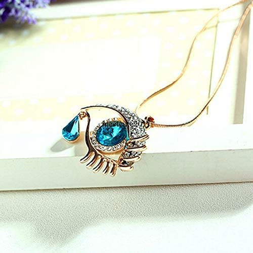 FidgetKute Woman Blue Eye Pendant Chain Necklace