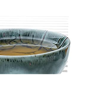Ceramic Tea Bowl Cup Chawan Clay Teacup Drip Glaze Chinese Teaware Stoneware Cups (charcoal gray, moss green, brown, 3.2 oz)