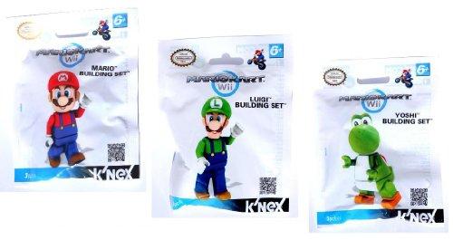 Knex Nintendo Mariokart Minifigure Building Set Pack of 3 / Mario , Luigi & Yoshi