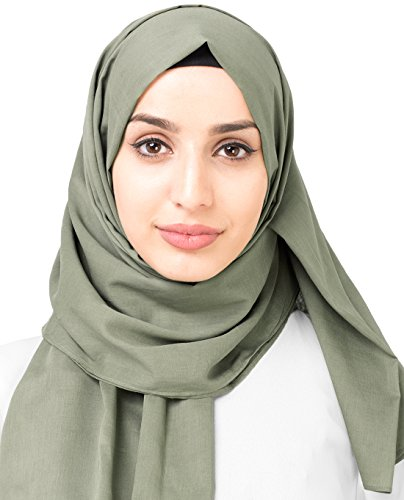 InEssence New Vetiver Green Cotton Voile Scarf Ladies Wrap Hijab Maxi Size