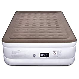 Etekcity Air Mattress with Built-in Pump, Queen Inflatable Mattress Blow Up Air Bed Double Raised Mattress for Camping, Guest, Hiking, Height 22