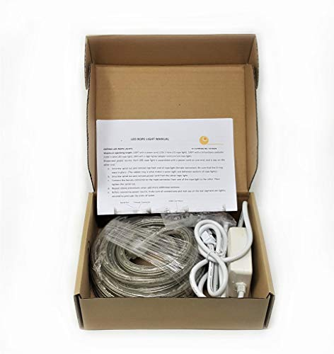 18Ft Rope Lights; 3wires warm white and pure white chasing LED Rope Light Kit; Christmas Lighting; outdoor rope lighting]()