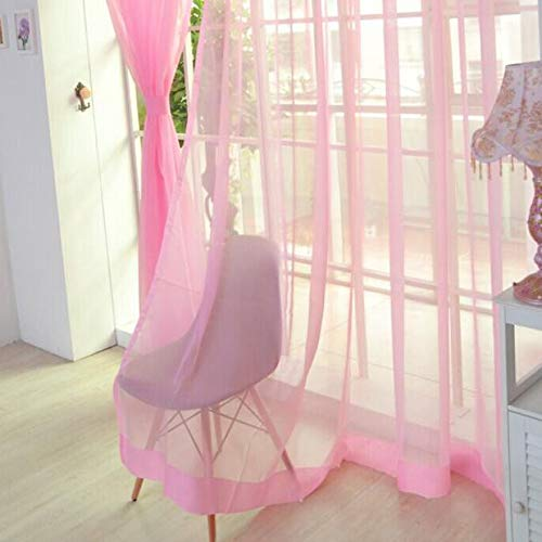 Huaa ,2 PCS Pure Color Tulle Door Window Curtain Drape Panel Sheer Scarf Valances PK,Pink,12M (Stripe Scarf Valance)