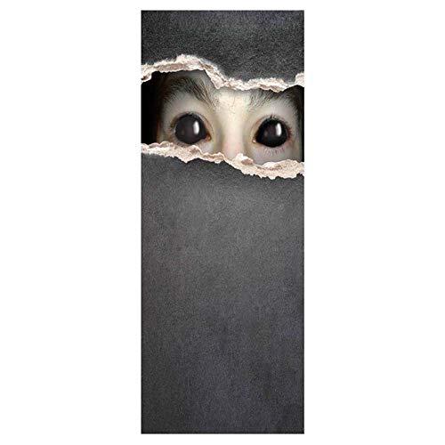 YJZ 3D Door Wall Mural Wallpaper Stickers Halloween Horror Self-Adhesive Vinyl Waterproof Art Door Renovation Decals