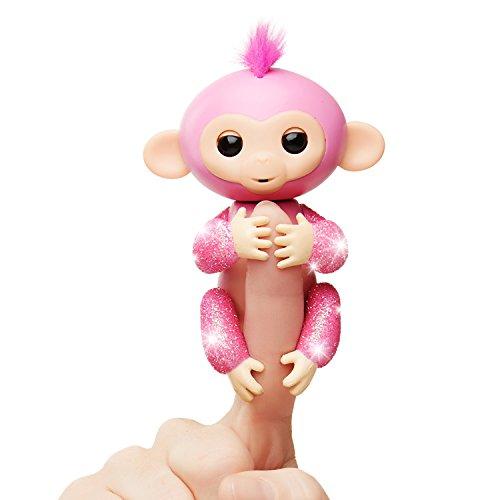 WowWee Fingerlings Glitter Monkey - Rose (Pink Glitter) - Interactive Baby Pet