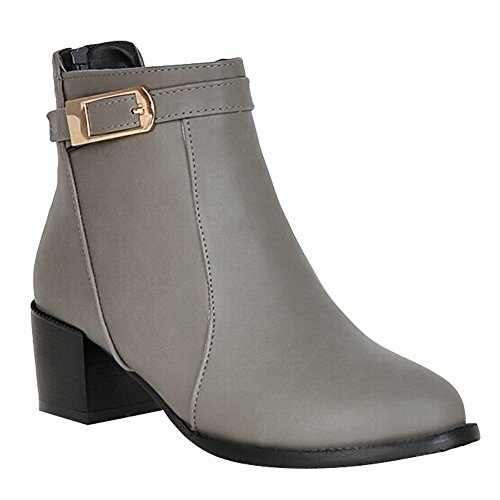 Martin Heel Carolbar Buckle Zip Women's Grey Concise Mid Casual Boots cqcW7Z6Pw