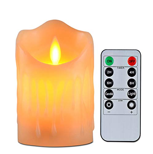 Flameless Candles with 10 Key Remote Timer Flickering Tear Wave Shaped Tealight Real Wax Simulate Dripping Led Candles Battery Operated Safe For Indoor Outdoor Decor 3 x 3.5 Inch