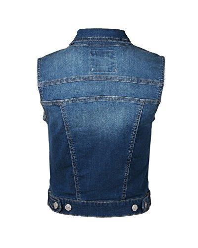 Dream Supply Womens Juniors Sleeveless Button up Jean Denim Crop Top Jacket Vest by Dream Supply (Image #2)