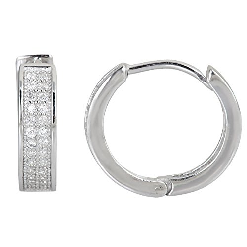 Decadence Women's Sterling Silver 2 Row Micropave Huggies Hoop Earrings, One Size (Row Set Two Pave)