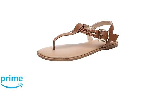 Luoika Women's Wide Width Flat Sandals T Strap Flip Flops