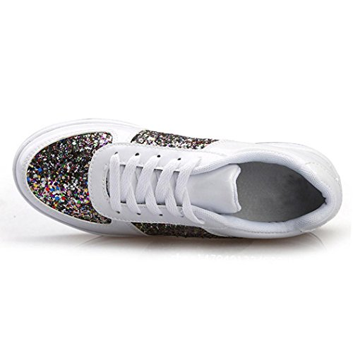 Mode Slipper Damen White Mädchen Turnschuhe LHWY Sommer Schuhe Frauen Wedges Sportschuhe Pailletten Shake Fashion Sneaker Lace 8x4d6Bqw4