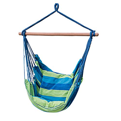 Lazy Daze Hammocks Hanging Rope Hammock Chair Swing Seat with Two Seat Cushions, Weight Capacity 300 Lbs, Blue&Green Stripe