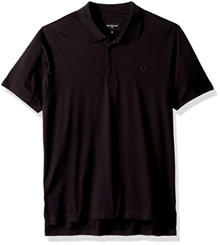 True Religion Men's Mercerized Polo Shirt, True Black, L