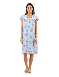 Casual Nights Women's Square Neck Cap Sleeves Floral Lace Nightgown