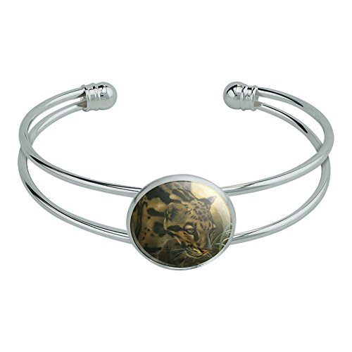 Graphics and More Ocelot Wild Cat Novelty Silver Plated Metal Cuff Bangle Bracelet