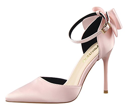 Passionow Women's Cute Ankle Strap Buckle Bow Pointed Toe Stiletto Heel Satin Cut Out Pumps Sandals (6 B(M) US,Pink)