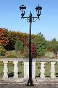 UK-jardines 213,36 cm lámpara de Post tradicional Garden - frontal doble - óxido de aluminio por lo que no se - Garden mural Lighting