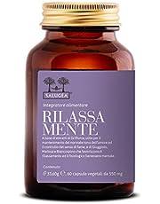 RILASSA MENTE Salugea - Integratore rilassante contro ansia e stress - 100% naturale con Griffonia, Giuggiolo, Melissa e Biancospino - 60 capsule vegetali - Flacone in vetro scuro farmaceutico